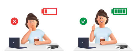 Young woman Jane - burnout concept. Tired, sleepy woman and happy, energetic woman with full and low energy battery working on computer in workplace .. 3d vector people character illustration. 일러스트