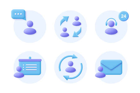 Business Communication 3d realistic icon set. Corporate signs. Vector illustration.