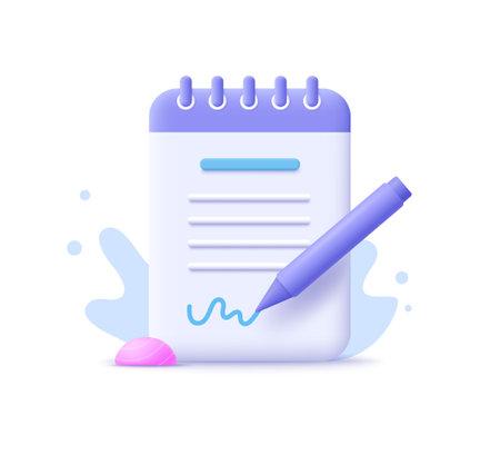 Copywriting, writing icon. Document concept. 3d vector illustration. 일러스트