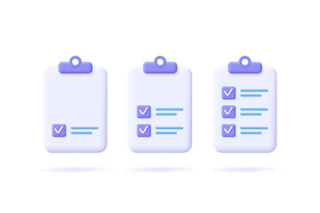 Task management check list, efficient work, project plan, fast progress, level up concept, assignment and exam, productivity solution icon. 3d vector illustration.