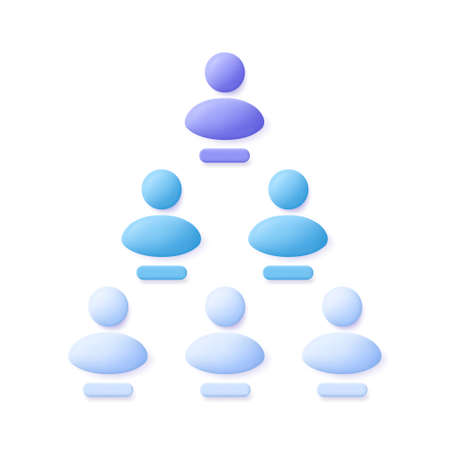 Pyramid scheme or referral system icon. 3d vector illustration.