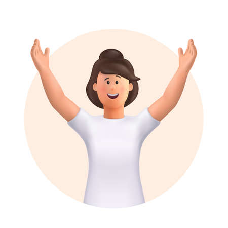 Young woman Jane celebrating goal achievement, victory. Concept of victory and success. Win, raised hands, hands up gesture. 3d vector people character illustration. 일러스트
