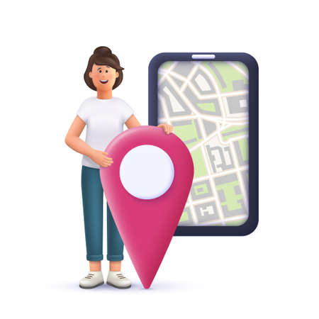 Young woman Jane marking locations on online city map on smartphone. Navigating, assignments, business concept. 3d vector people character illustration.