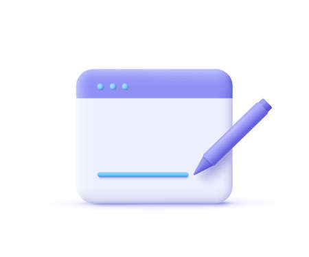 Copywriting, writing icon. Document concept. Web page and pencil. 3d vector illustration.