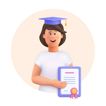 Young woman Jane - student in graduation cap and robe standing, holding diploma or certificate. Academic degree and achievements. 3d vector people character illustration. 일러스트