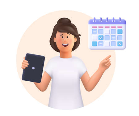Young woman Jane holding tablet, showing plan schedule, planning day scheduling appointment in calendar application. Business planning, events, reminder and timetable.3d vector people illustration.