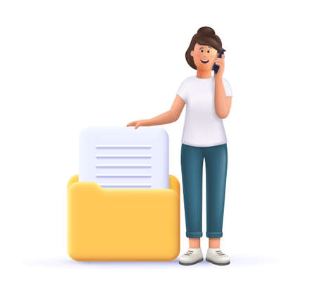 Young woman Jane standing near huge folder with documents and talking on smartphone. 3d vector people character illustration.