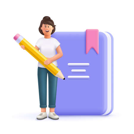 Young woman Jane holding pen front of huge book. Prepare to examination, make homework, read and learn. Education, university, college concept. 3d vector people character illustration. 일러스트