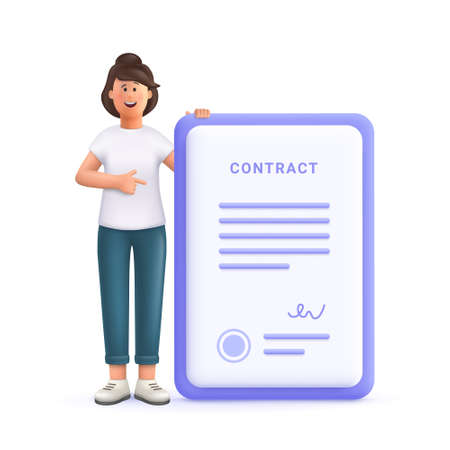 Young woman Jane smiling and pointing at large signed contract. 3d vector people character illustration.