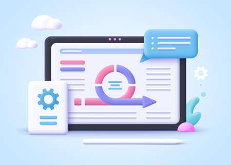 Concept of agile project management, agile software development. 3d realistic vector illustration.