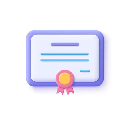 Vector certificate icon. Achievement, award, grant, diploma concepts. 3d vector illustration. 일러스트