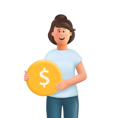 Young woman Jane holding a gold coin. Earning money, increasing capital, the pursuit of money, capital gains, cash gains concept. 3d vector people character illustration.