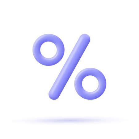 Percent sign. Percentage, discount, sale, promotion concept. 3d vector icon illustration.