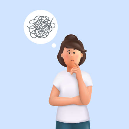 Young woman Jane with tangled thoughts. Business problem solving concept, online communication problem and question resolution. 3d vector people character illustration.