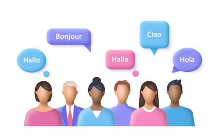 Mother language. People say the word hello in different international languages. 3d vector illustration. 일러스트