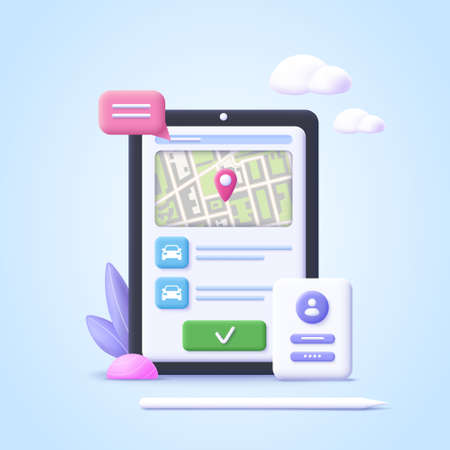 Concept of online car sharing service, ordering taxi car, rent. Smartphone app. Phone with location mark and smart car. 3d realistic vector illustration. 일러스트