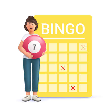 Young woman Jane playing bingo. Lottery money game, lucky raffle ticket, bingo game and game of chance jackpot concept. 3d vector people character illustration. 일러스트