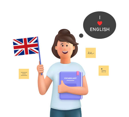 Young woman Jane studying english holding a dictionary and english flag. Learn English concept. 3d vector people character illustration. 일러스트