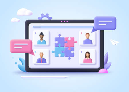Concept of business cooperation, partnership, collaboration, communication, corporate and cooperative business. 3d realistic vector illustration. 일러스트