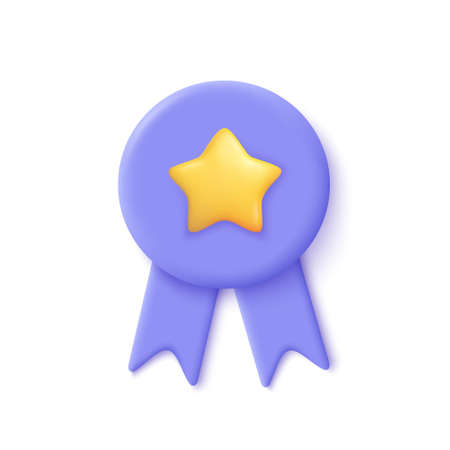 Quality guarantee ribbon icon with star. Premium quality label. 3d vector illustration.