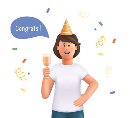 Young woman Jane celebrating holiday with colorful confetti and champagne. Ð¡ongratulations and having fun. 3d vector people character illustration.