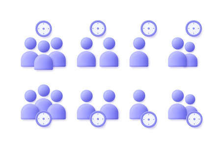 Time Management user, business people icon set. Appointment, organization, community, watch, limited, date, invitation, group of people, assignment concept. 3d vector illustration. 일러스트