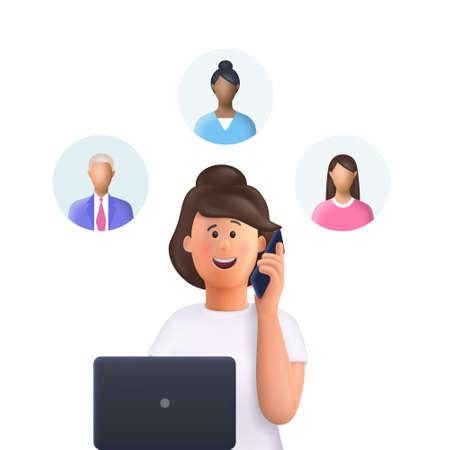 Young woman Jane at a meeting. Assignment of tasks, scram, meeting, job delegation. Manager works with computer and phone. 3d vector illustration.