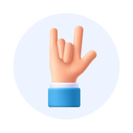 Rock on gesture hand, sign. 3d emoji vector illustration.
