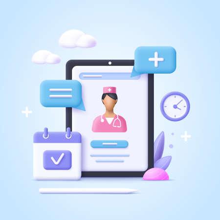 Concept of online consultation doctor. Online medicine, healthcare, medical diagnostics. 3d realistic vector illustration. 일러스트