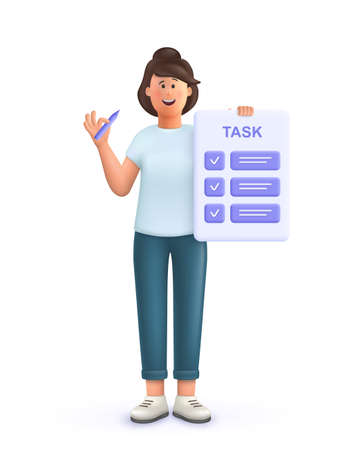 Young woman Jane with tasks on paper sheets, planning schedule to finish task on time. Deadline, assignments scheduling, work process organization concept. 3d vector people character illustration.