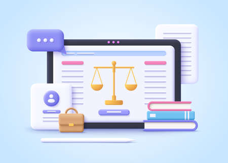 Concept of Law. Professional lawyer, punishment, judgment, law advisor, consultant, advocate. 3d realistic vector illustration.