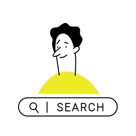Outline cartoon man. Curious man with search bar, looking for something in the internet. Business, search, research, development, web surfing concept.