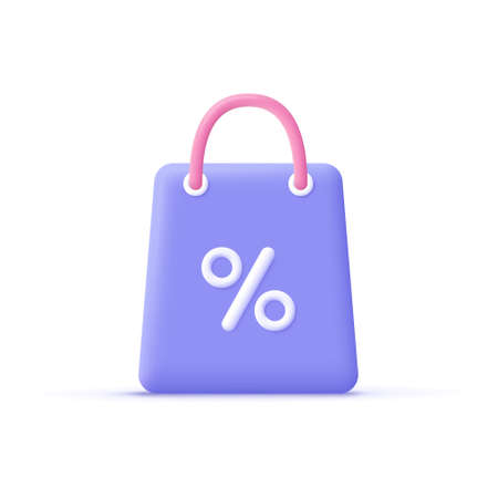 3d cartoon shopping bag with percent sign. Online shopping, sale promotion, discount concept. 3d vector illustration icon.