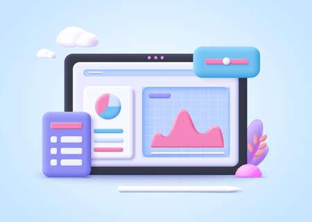 Concept of process optimization. Business improvement, development, project planning, effective team work. 3d realistic vector illustration. 일러스트