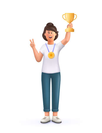 Young woman Jane champion holds golden winner cup, awarded with prize, win award. Concept of goal achievement celebration. 3d vector people character illustration. 일러스트