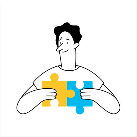 Outline cartoon man connecting puzzle elements, puzzle piece. Business idea, solution, problem solving, product management, challenge concept. Hand drawing illustration. 일러스트