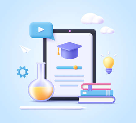 Concept of mobile learning, e-learning and online courses application. Education and back to school. 3d realistic vector illustration.
