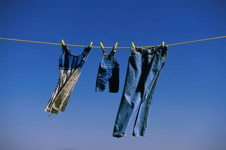 clothesline: Clothes dry on clothesline