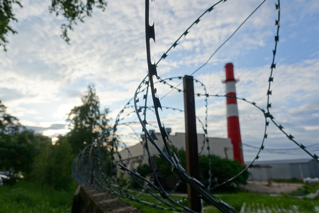 wire fence: Barbed wire on a fence