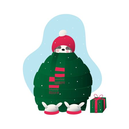 Winter, Christmas or New Year time. Cute lazy sloth in winter cloth holds
