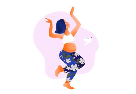Happy young pregnant woman dancing. Active well fitted pregnant female character.