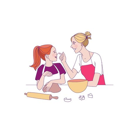 Happy mothers day vector illustration. Mother and daughter cooking together
