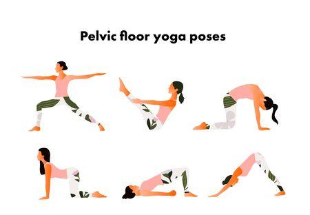 Pelvic floor yoga poses. Woman health. Yoga asanas.