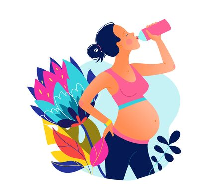Young pregnant beautiful woman drinking water after training. Stay hydrated.