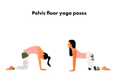 Pelvic floor yoga poses. Woman health. Yoga asanas. Cat and cow poses.