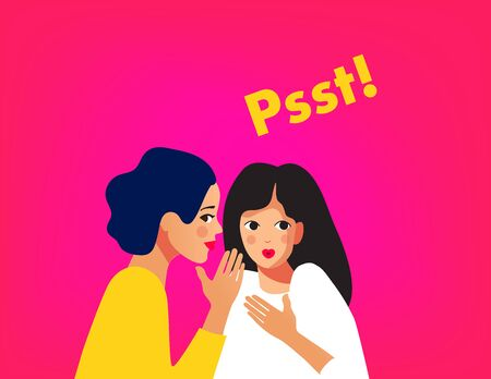 Two girls gossiping vector illustration.