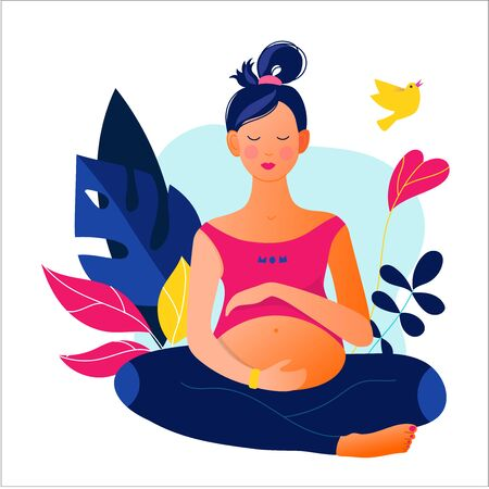 Pregnant woman doing yoga. Active well fitted pregnant female character.
