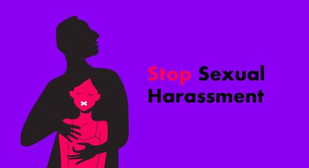 Stop Sexual Harassment vector illustration. Rape victim.