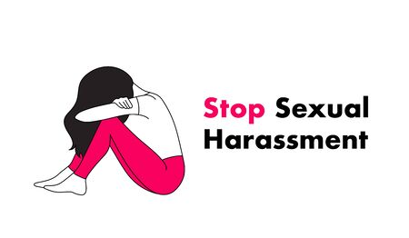 Stop Sexual Harassment vector illustration. rightened Girl suffering from aggressive behavior. Illusztráció