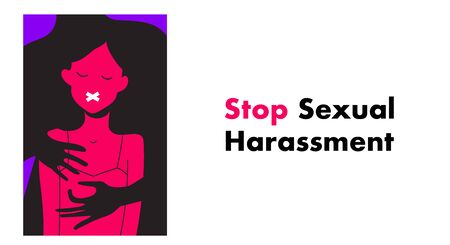 Stop Sexual Harassment vector illustration. Rape victim. Me too movement.